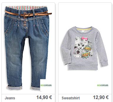 Leuk voor girls: biocotton jeans en sweat